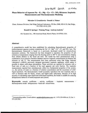 Primary view of object titled 'Phase Behavior of Aqueous NA-K-MG-CA-CI-NO3 Mixtures: Isopiestic Measurements and Thermodynamic Modeling'.