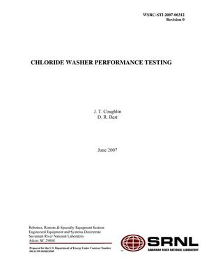 Primary view of object titled 'CHLORIDE WASHER PERFORMACE TESTING'.