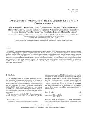 Primary view of object titled 'Development of Semiconductor Imaging Detectors for a Si/CdTe Compton Camera'.