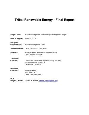 Primary view of object titled 'Northern Cheyenne Tribe Wind Energy Development Report'.