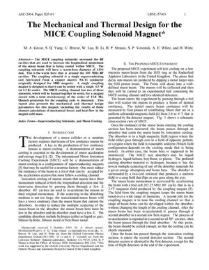 Primary view of object titled 'The Mechanical and Thermal Design for the MICE Coupling SolenoidMagnet'.