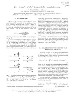 Primary view of object titled '2\beta + \gamma from B^0 to D^\mp K^0 \pi^\pm Decays at BaBar: aSimulation Study'.