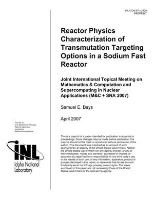 Primary view of object titled 'Reactor Physics Characterization of Transmutation Targeting Options in a Sodium Fast Reactor'.