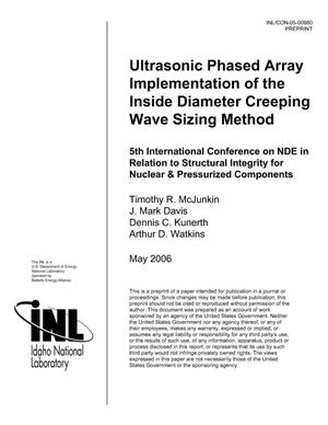 Primary view of object titled 'Ultrasonic Phased Array Implementation of the Inside Diameter Creeping Wave Sizing Method'.