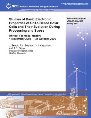 Primary view of object titled 'Studies of Basic Electronic Properties of CdTe-Based Solar Cells and Their Evolution During Processing and Stress; Annual Technical Report, 1 November 2005 - 31 October 2006'.