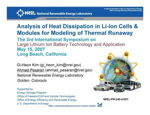 Primary view of object titled 'Analysis of Heat Dissipation in Li-Ion Cells & Modules for Modeling of Thermal Runaway (Presentation)'.