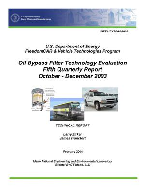 Primary view of object titled 'U.S. Department of Energy FreedomCAR & Vehicle Technologies Program Oil Bypass Filter Technology Evaluation Fifth Quarterly Report October - December 2003'.