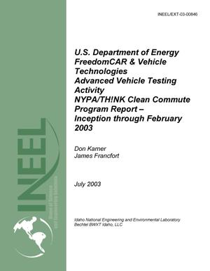 Primary view of object titled 'NYPA/TH!NK Clean Commute Program Report – Inception through February 2003'.