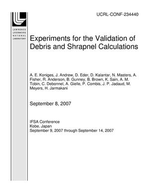Primary view of object titled 'Experiments for the Validation of Debris and Shrapnel Calculations'.