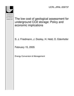 Primary view of object titled 'The low cost of geological assessment for underground CO2 storage: Policy and economic implications'.