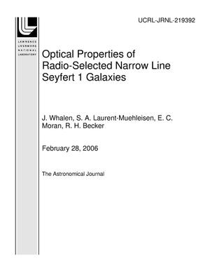 Primary view of object titled 'Optical Properties of Radio-Selected Narrow Line Seyfert 1 Galaxies'.