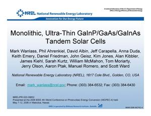 Primary view of object titled 'Monolithic, Ultra-Thin GaInP/GaAs/GaInAs Tandem Solar Cells'.