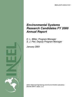 Primary view of object titled 'Environmental Systems Research Candidates Program--FY2000 Annual report'.