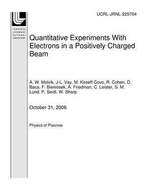 Primary view of object titled 'Quantitative Experiments With Electrons in a Positively Charged Beam'.