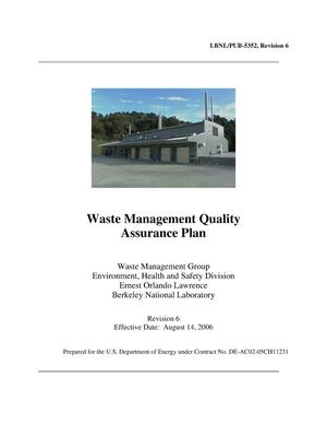 Primary view of object titled 'Waste Management Quality Assurance Plan'.