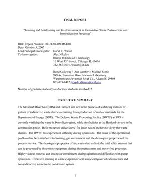 "Primary view of object titled 'Final Report - ""Foaming and Antifoaming and Gas Entrainment in Radioactive Waste Pretreatment and Immobilization Processes""'."