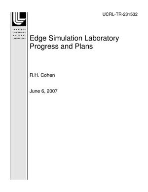 Primary view of object titled 'Edge Simulation Laboratory Progress and Plans'.