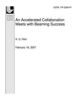 Primary view of object titled 'An Accelerated Collaboration Meets with Beaming Success'.