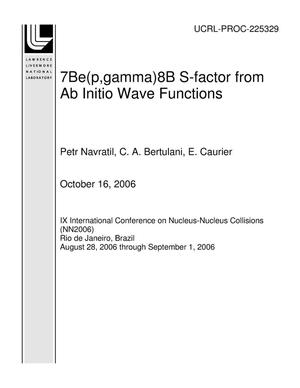 Primary view of object titled '7Be(p,gamma)8B S-factor from Ab Initio Wave Functions'.