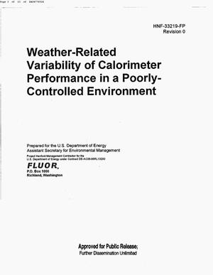 Primary view of object titled 'WEATHER RELATED VARIABILITY OF CALORIMETERY PERFORMANCE IN A POORLY CONTROLLED ENVIRONMENT'.