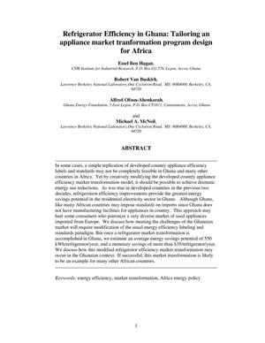 Primary view of object titled 'Refrigerator Efficiency in Ghana: Tailoring an appliance markettransformation program design for Africa'.