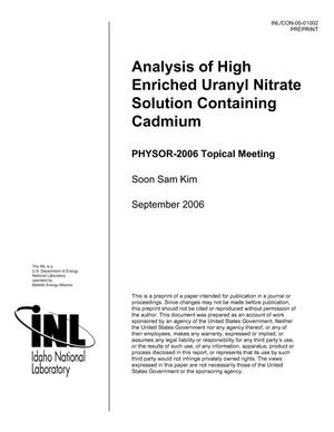 Primary view of object titled 'Analysis of High Enriched Uranyl Nitrate Solution Containing Cadmium'.
