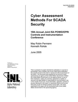 Primary view of object titled 'Cyber Assessment Methods For SCADA Security'.
