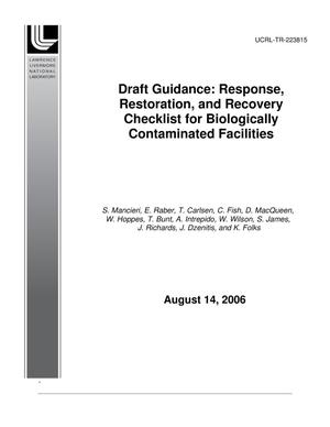 Primary view of object titled 'Draft Guidance: Response, Restoration, and Recovery Checklist for Biologically Contaminated Facilities'.