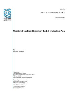 Primary view of object titled 'Monitored Geologic Repository Test Evaluation Plan'.