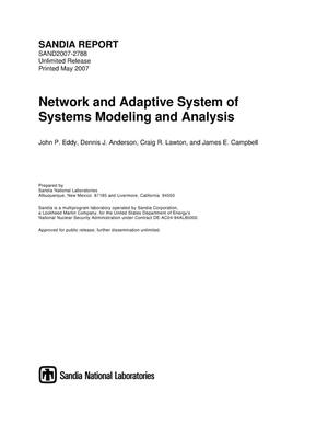 Primary view of object titled 'Network and adaptive system of systems modeling and analysis.'.