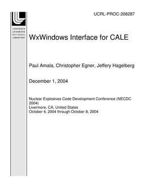 Primary view of object titled 'WxWindows Interface for CALE'.