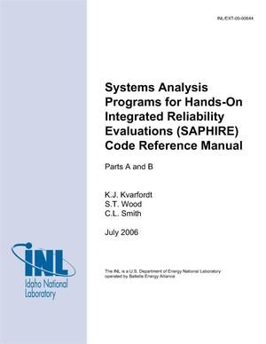 Primary view of object titled 'Systems Analysis Programs for Hands-on Integrated Reliability Evaluations (SAPHIRE) Code Reference Manual'.