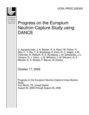 Primary view of object titled 'Progress on the Europium Neutron-Capture Study using DANCE'.