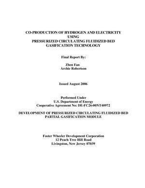 Primary view of object titled 'CO-PRODUCTION OF HYDROGEN AND ELECTRICITY USING PRESSURIZED CIRCULATING FLUIDIZED BED GASIFICATION TECHNOLOGY'.