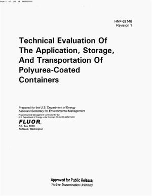Primary view of object titled 'TECHNICAL EVALUATION OF THE APPLICATION & STORAGE & TRANSPORTATION OF POLYUREA COATED CONTAINERS'.