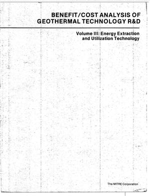 Primary view of object titled 'Benefit/Cost Analysis of Geothermal Technology R&D. Volume III: Energy Extraction and Utilization Technology'.