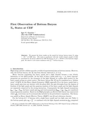 Primary view of object titled 'First Observation of Bottom Baryon Sigma(b) States at CDF'.