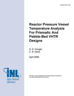 Primary view of object titled 'Reactor Pressure Vessel Temperature Analysis for Prismatic and Pebble-Bed VHTR Designs'.