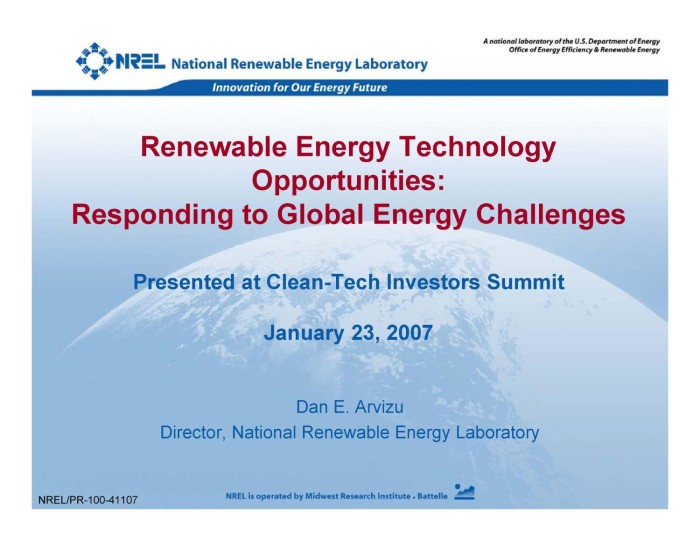 Renewable Energy Technology Opportunities: Responding to