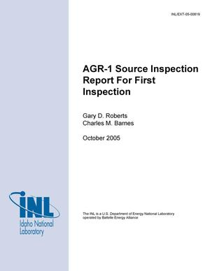 Primary view of object titled 'AGR-1 Source Inspection Report for First Inspection'.