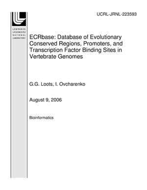 Primary view of object titled 'ECRbase: Database of Evolutionary Conserved Regions, Promoters, and Transcription Factor Binding Sites in Vertebrate Genomes'.