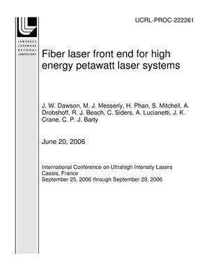 Primary view of object titled 'Fiber laser front end for high energy petawatt laser systems'.