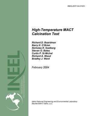 Primary view of object titled 'High Temperature Calcination - MACT Upgrade Equipment Pilot Plant Test'.