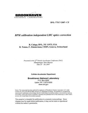 Primary view of object titled 'BPM CALIBRATION INDEPENDENT LHC OPTICS CORRECTION'.