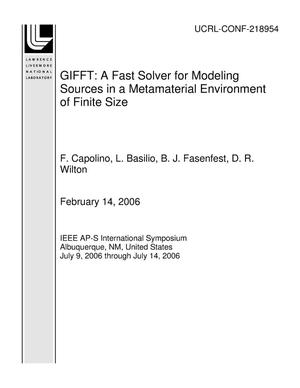 Primary view of object titled 'GIFFT: A Fast Solver for Modeling Sources in a Metamaterial Environment of Finite Size'.