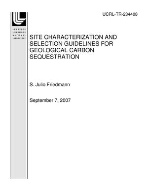 Primary view of object titled 'SITE CHARACTERIZATION AND SELECTION GUIDELINES FOR GEOLOGICAL CARBON SEQUESTRATION'.