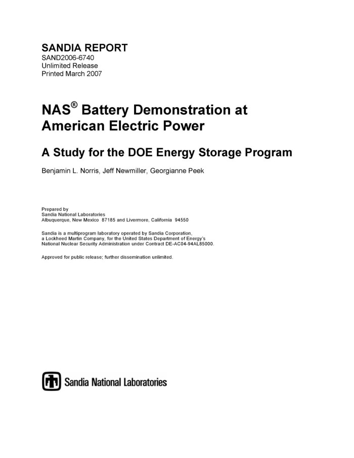 NAS Battery Demonstration At American Electric Power:a Study For The DOE  Energy Storage Program.
