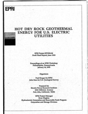 Primary view of object titled 'Hot dry rock geothermal energy for U.S. electric utilities. Draft final report'.