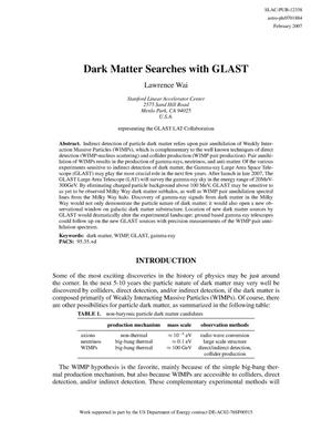 Primary view of object titled 'Dark Matter Searches With GLAST'.