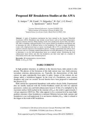 Primary view of object titled 'Proposed RF Breakdown Studies at the AWA'.